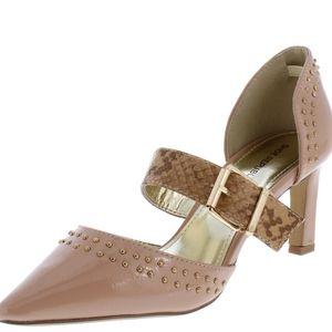 Pointed Toe Boa Buckle Kitten Heel Shoes